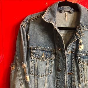 Free People Denim Studded Trucker Jacket